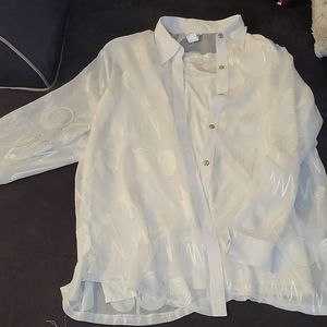 2 piece blouse: sheer white button down with tank